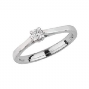 Platinum 0.1ct Solitaire Diamond Ring Four Claw V style mount